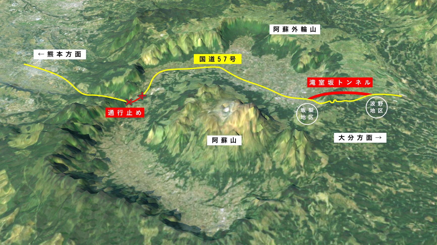 滝室坂トンネルルートマップ